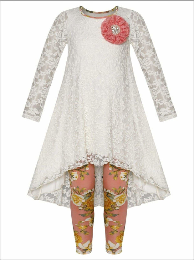 Girls Lace Hi-Lo Long Sleeve Tunic with Flower Trim & Printed Leggings Set - White / 2T/3T - Girls Fall Dressy Set