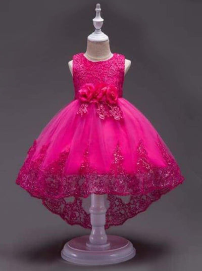 Girls Lace Hi-Lo Party Dress (4 color options) - Hot Pink / 4T - Girls Fall Dressy Dress