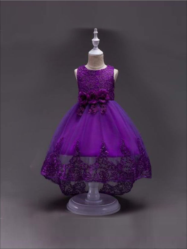 Girls Lace Hi-Lo Party Dress (4 color options) - Purple / 4T - Girls Fall Dressy Dress