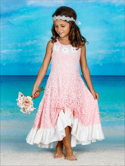 Girls Lace Hi-Lo Ruffled Hem Drawstring Dress - Girls Spring Dressy Dress