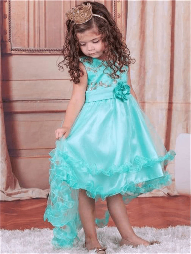 Girls Lace Holiday Hi-Lo Party Dress ( 4 Color Options) - Girls Spring Dressy Dress