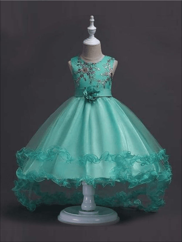 Girls Lace Holiday Hi-Lo Party Dress ( 4 Color Options) - Mint / 3T - Girls Spring Dressy Dress