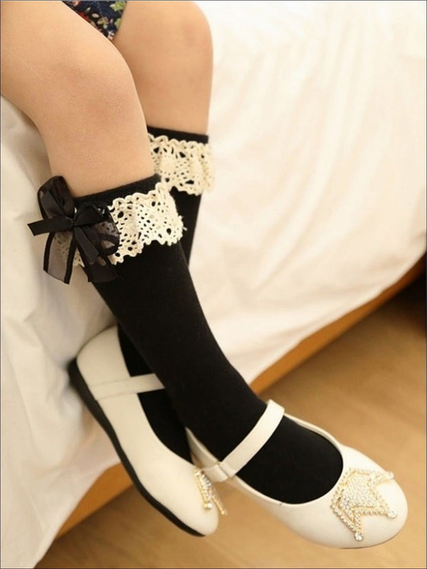 Girls Lace Knee Socks (6 color options) - Girls Accessories