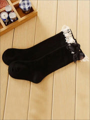 Girls Lace Knee Socks (6 color options) - Black / M - Girls Accessories