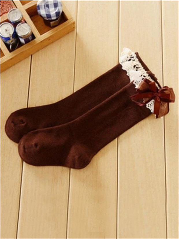 Girls Lace Knee Socks (6 color options) - Brown / M - Girls Accessories