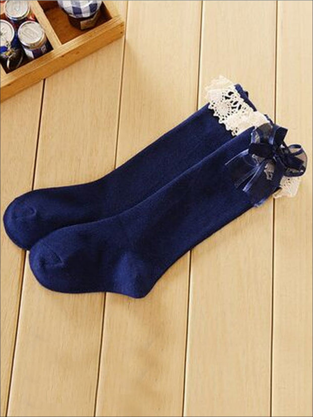 Girls Lace Knee Socks (6 color options) - Navy / M - Girls Accessories