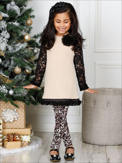 Girls Lace Long Raglan Sleeve Trimmed Tunic & Leggings Set - Girls Fall Casual Set