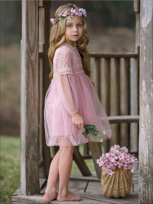 Girls Lace Long Sleeve Lace Dress - Girls Spring Dressy Dress