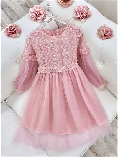 Girls Lace Long Sleeve Lace Dress - Pink / 8Y - Girls Spring Dressy Dress