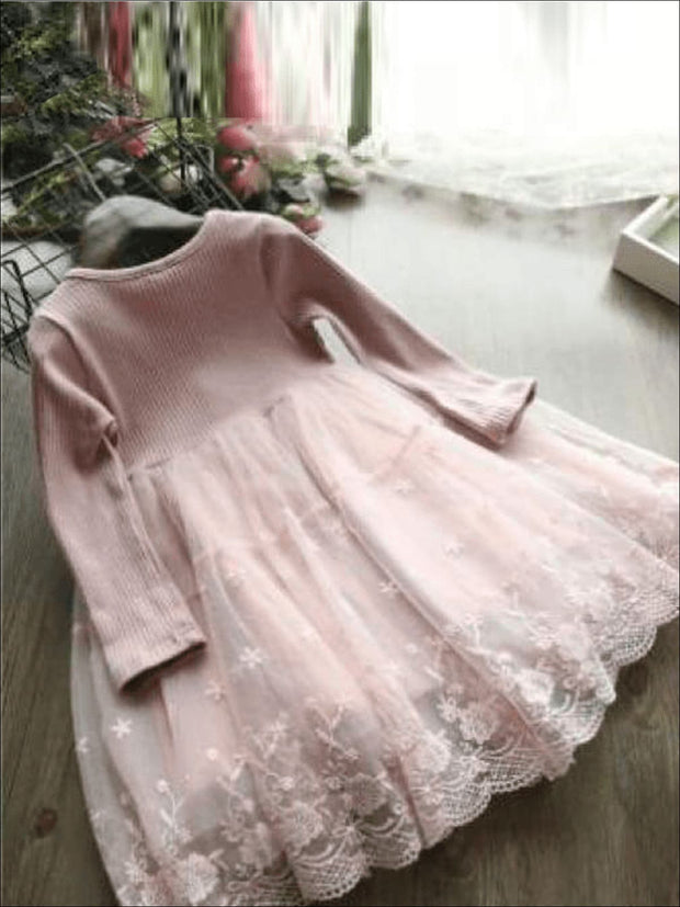 Girls Lace Long Sleeve Dress (Pink & Gray) - Girls Fall Dressy Dress