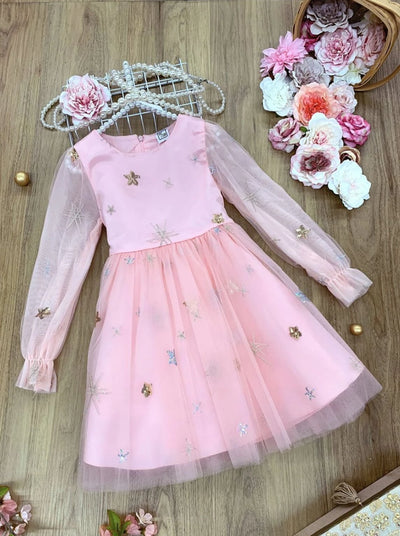 Girls Lace Long Sleeve Gold Star Dress - Girls Spring Dressy Dress