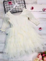 Girls Lace Long Sleeve Tiered Tutu Holiday Maxi Dress - Girls Fall Dressy Dress