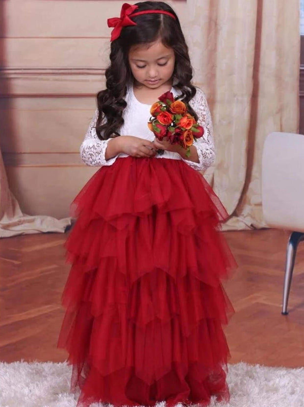 Girls Lace Long Sleeve Tiered Tutu Holiday Maxi Dress - Red / 2T - Girls Fall Dressy Dress