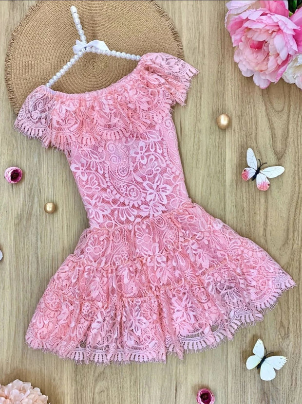 Girls Lace Off the Shoulder Ruffled Midi Dress - Pink / 2T/3T - Girls Spring Casual Dress