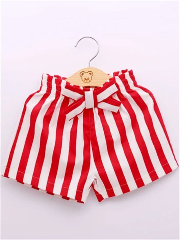 Girls Lace Off the Shoulder Tunic & Striped Shorts Set with Pearl Necklace - Girls Spring Casual Set