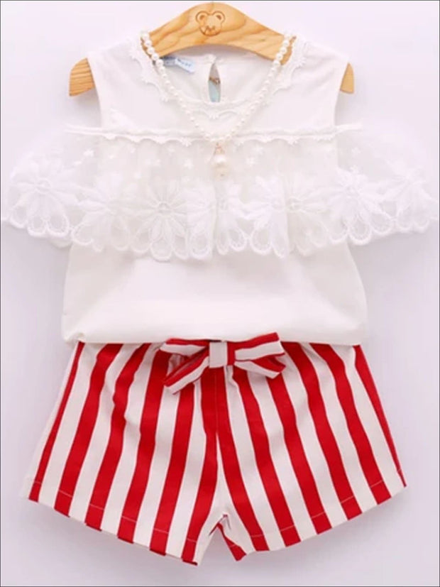 Girls Lace Off the Shoulder Tunic & Striped Shorts Set with Pearl Necklace - White / 3T - Girls Spring Casual Set