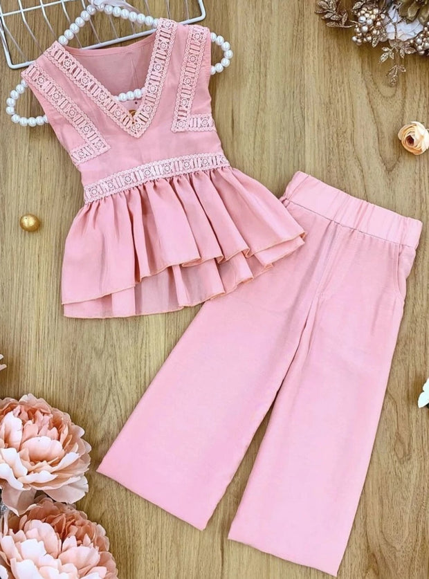 Girls Lace Peplum Top and Sash-Waist Palazzo Pants Set - Pink / 2T/3T - Girls Spring Casual Set