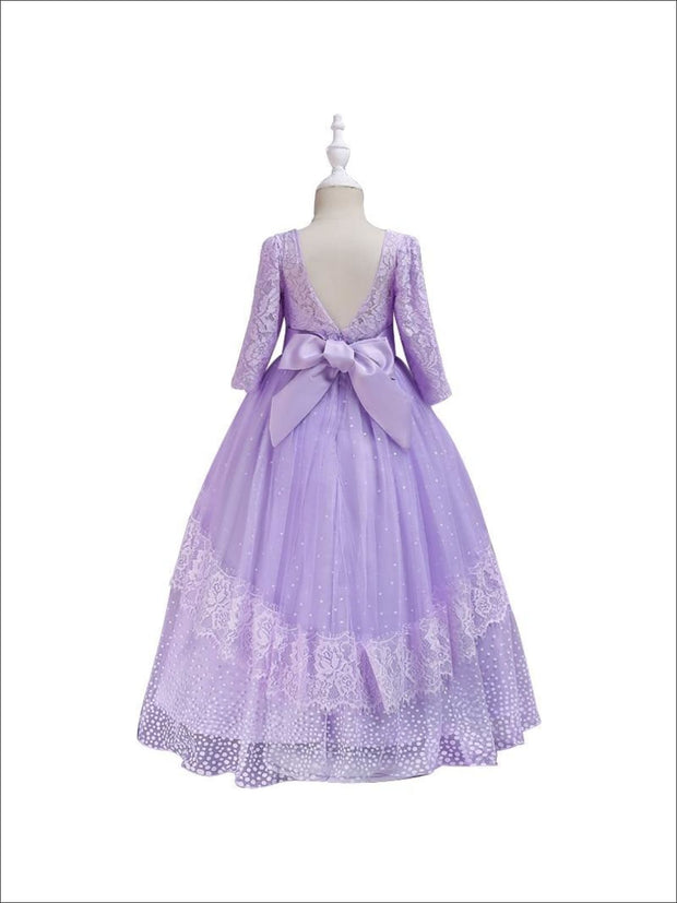 Girls Lace Puffy Sleeve Special Occasion Holiday Dress - Girl Fall Dressy Dress