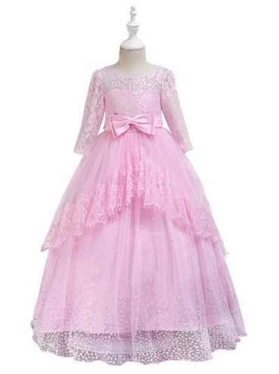 Girls Lace Puffy Sleeve Special Occasion Holiday Dress - Pink / 3T - Girl Fall Dressy Dress