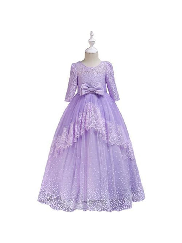 Girls Lace Puffy Sleeve Special Occasion Holiday Dress - Purple / 3T - Girl Fall Dressy Dress
