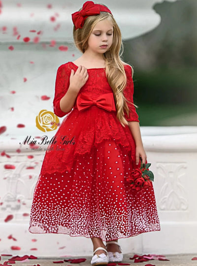 Girls Lace Puffy Sleeve Special Occasion Holiday Dress - Red / 3T - Girl Fall Dressy Dress