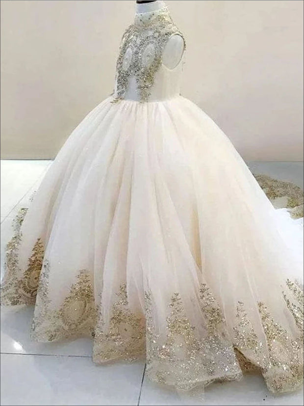 Girls Lace Rhinestone Embellished Tulle Communion Pageant Flower Girl Ball Gown - Girls Gowns