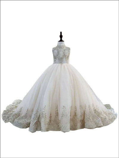 Girls Lace Rhinestone Embellished Tulle Communion Pageant Flower Girl Ball Gown - Champagne / 2T - Girls Gowns