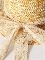 Girls Lace Ribbon And Trim Straw Hat - Girls Hats