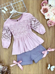 Girls Lace Ruched Tunic and Shorts Set - Dusty Pink / 2T/3T - Girls Spring Casual Set