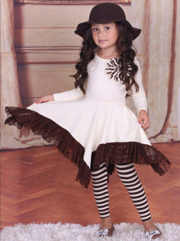 Girls Lace Ruffle Handkerchief Tunic & Leggings Set - Girls Fall Dressy Set