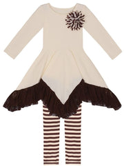 Girls Lace Ruffle Handkerchief Tunic & Leggings Set - Creme / 2T/3T - Girls Fall Dressy Set