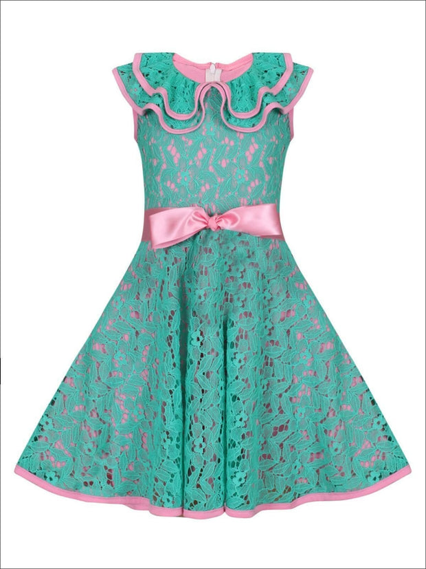 Girls Lace Ruffled Double Layer Collar Dress with Satin Sash - Turquoise / 2T/3T - Girls Spring Dressy Dress
