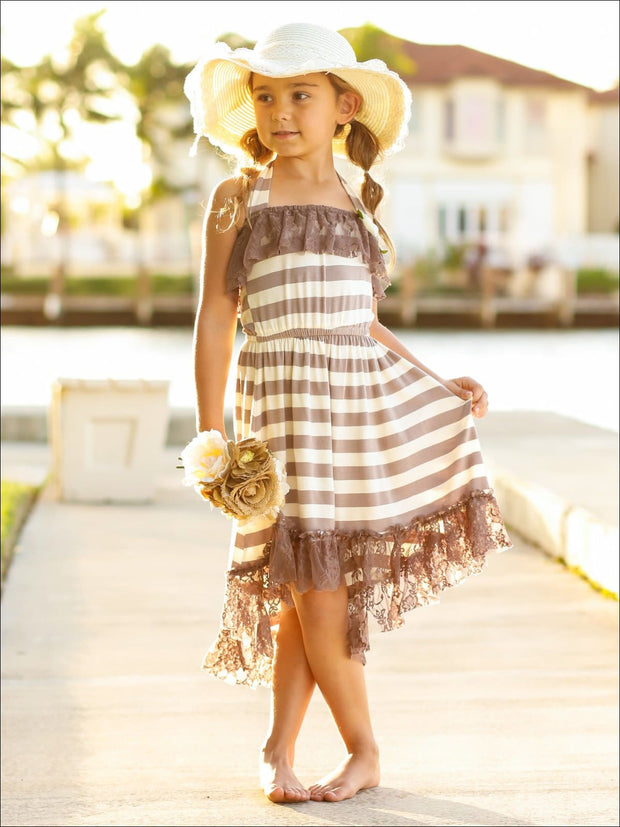 Girls Lace Ruffled Hi-Lo Elastic Waist Halter Neck Dress - Girls Spring Casual Dress