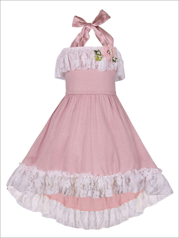 Girls Lace Ruffled Hi-Lo Elastic Waist Halter Neck Dress - Dusty Pink / 2T/3T - Girls Spring Casual Dress