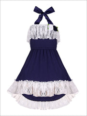 Girls Lace Ruffled Hi-Lo Elastic Waist Halter Neck Dress - Navy / 2T/3T - Girls Spring Casual Dress