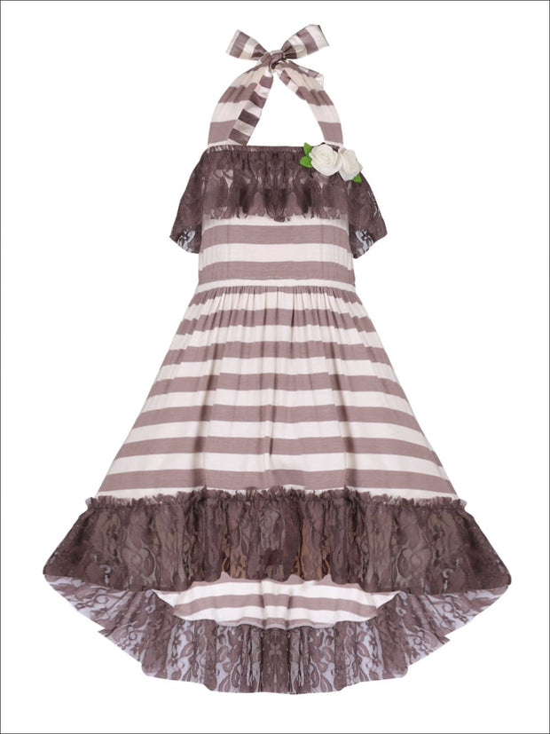 Girls Lace Ruffled Hi-Lo Elastic Waist Halter Neck Dress - Taupe / 2T/3T - Girls Spring Casual Dress