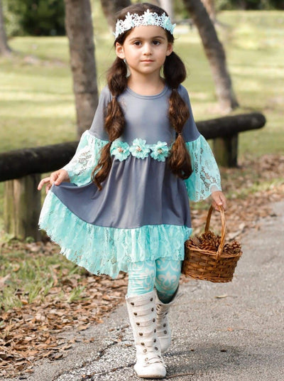 Girls Lace Ruffled Hi-Lo Waist Trim Tunic & Leggings Set - Girls Fall Casual Set