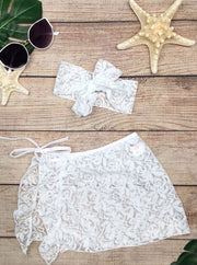 Girls Lace Ruffled Side Tie Swimsuit Sarong Cover Up and Bow Headband - White / 2T/3T - Girls Swimsuit Cover Up