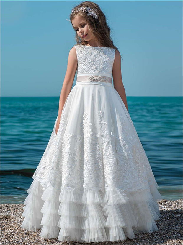 Girls Lace Ruffled White Communion Gown - White / 2T - Girls Gowns