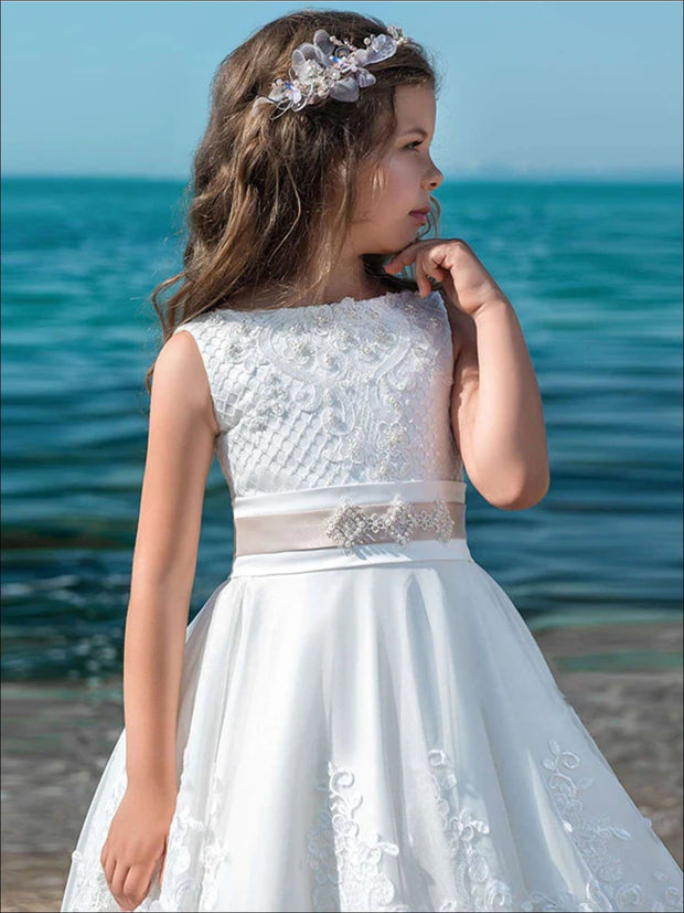 Girls Lace Ruffled White Communion Gown - Girls Gowns