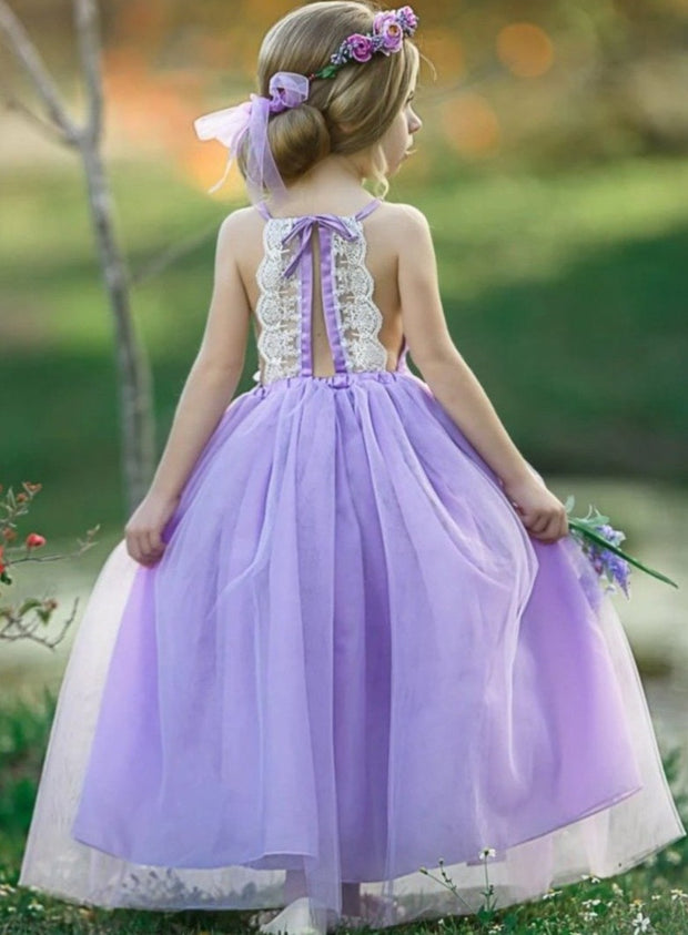 Girls Lace Scalloped Open Back Tulle Maxi Dress with Flower Clip - Girls Spring Dressy Dress