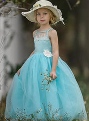 Girls Lace Scalloped Open Back Tulle Maxi Dress with Flower Clip - Mint / 2T/3T - Girls Spring Dressy Dress