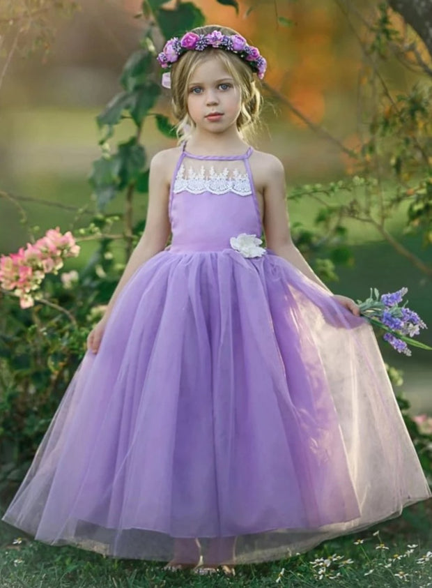 Girls Lace Scalloped Open Back Tulle Maxi Dress with Flower Clip - Purple / 2T/3T - Girls Spring Dressy Dress
