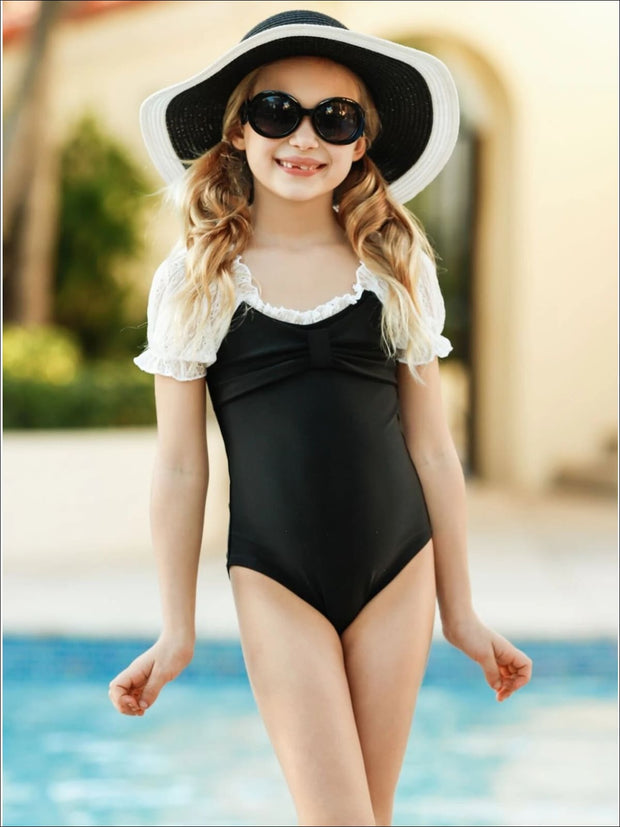 Girls Lace Scrunch Sleeve Bow One Piece Swimsuit - Girls One Piece Swimsuit