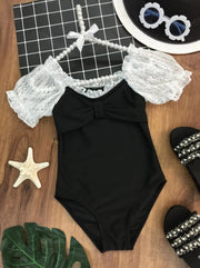 Girls Lace Scrunch Sleeve Bow One Piece Swimsuit - Black / 4T - Girls One Piece Swimsuit