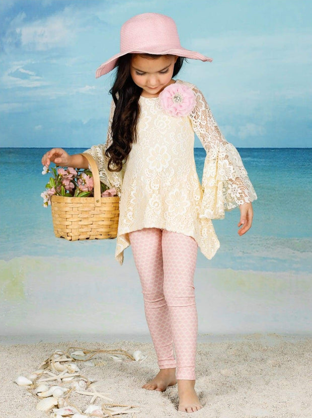 Girls Lace Side Tail Tiered Flared Sleeve Tunic & Leggings Set - Girls Fall Dressy Set