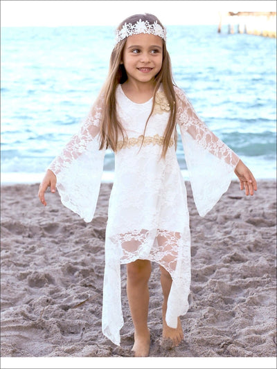 Girls Lace Sidetail Bohemian Princess Dress - Girls Spring Dressy Dress