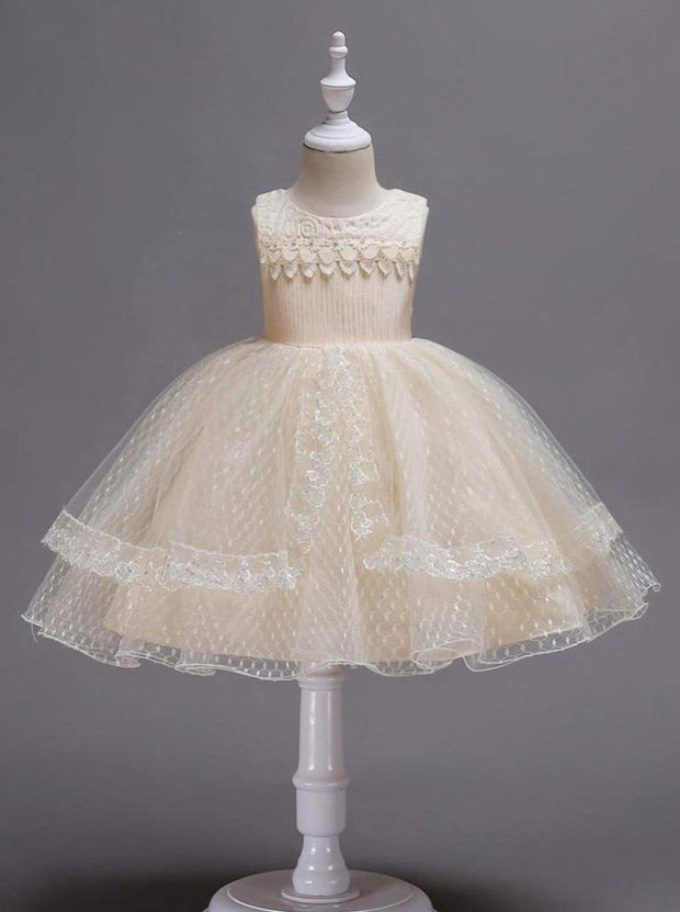 Girls Lace Sleeveless Floral Applique Tiered Lace Special Occasion Dress - Champagne / 3T - Girls Fall Dressy Dress