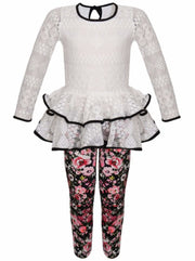 Girls Lace Tiered Peplum Long Sleeve Tunic & Printed Leggings Set - White / 2T/3T - Girls Fall Dressy Set