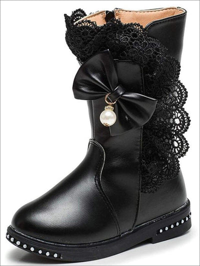 Girls Lace Trim Bow Mid Calf Princess Boots - Black / 1 - Girls Boots